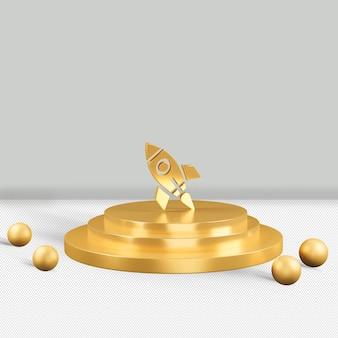 Ícone dourado do foguete isolado renderização 3d