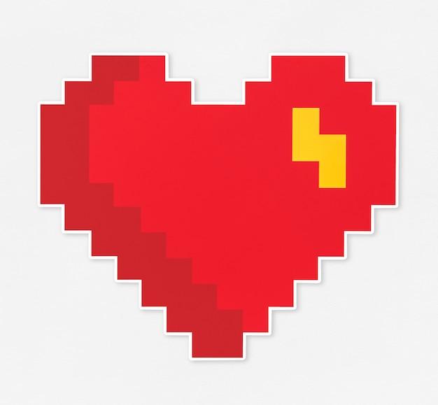 Ícone em forma de coração vermelho pixelado