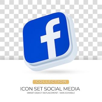 Ícone isolado de mídia social com fundo branco em renderização 3d 05