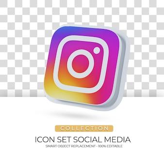 Ícone isolado de mídia social com fundo branco em renderização 3d