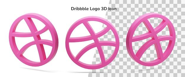Ícone isolado do dribbble 3d render ícone ativo flutuante