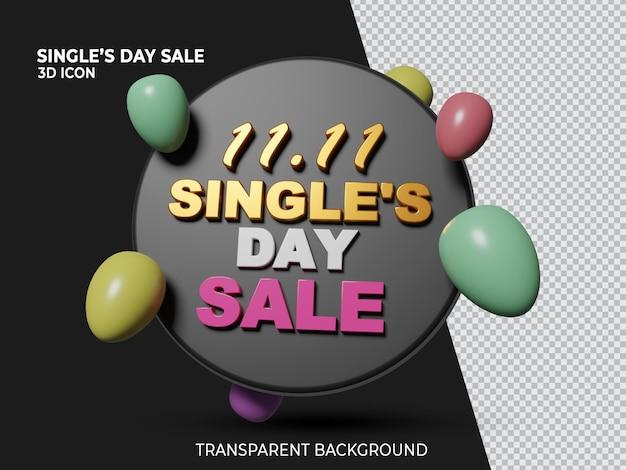 Ícone isolado transparente renderizado em 3d 11 11 de venda de um dia único