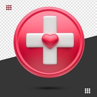 Ícone médico 3d vermelho com branco isolado