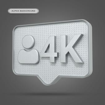 Ícone metálico de seguidores em 4k do instagram em renderização 3d