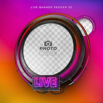Ícone moderno e realista em 3d com néon e grade em cores do instagram