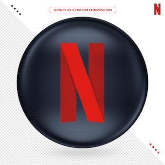 Ícone netflix isolado em renderização 3d