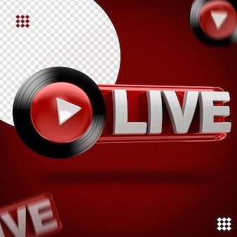 Ícone preto ao vivo de música do youtube 3d restante
