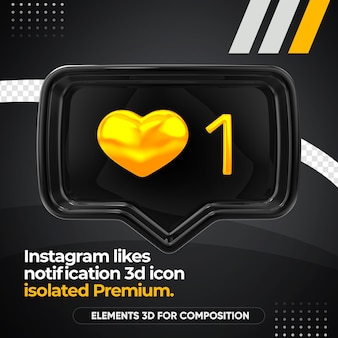 Ícone preto da frente de notificação de curtidas no instagram isolado