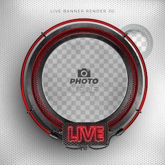 Ícone realista 3d moderno ao vivo com neon e grade vermelha e preta
