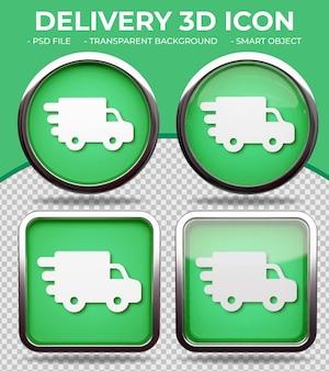 Ícone realista de vidro verde redondo e quadrado brilhante ícone de van de entrega 3d