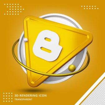 Ícone realista do blogger 3d em renderização 3d isolado