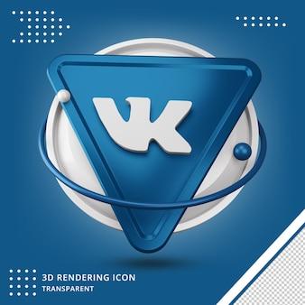 Ícone realista vk 3d em renderização 3d isolado