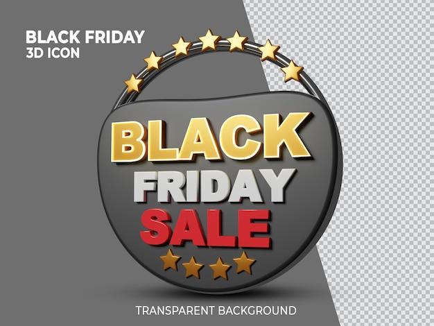 Ícone renderizado 3d de super venda da black friday de alta qualidade