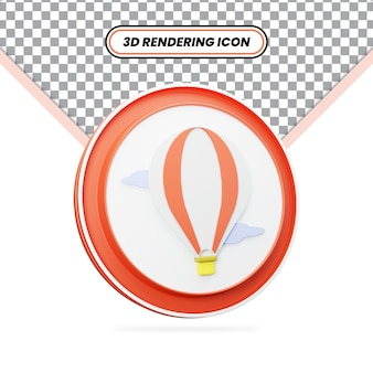 Ícone renderizado em 3d do balão de ar vermelho quente com nuvens