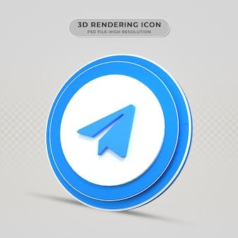 Ícone renderizado em 3d do telegrama
