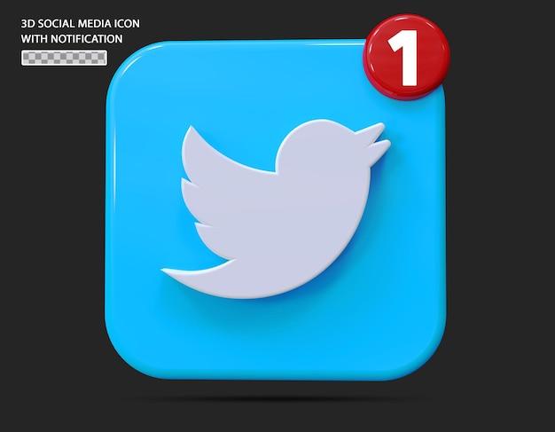 Ícone twitte com estilo 3d de notificação