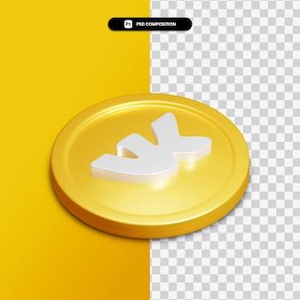 Ícone vk de renderização 3d no círculo dourado isolado