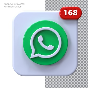 Ícone whatsapp com conceito 3d de notificação