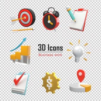Ícones 3d de negócios ajustados renderização