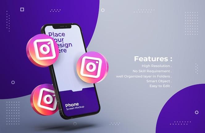 Ícones 3d do instagram com maquete de tela do celular