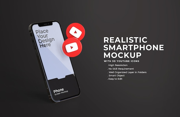 Ícones 3d do youtube com maquete de tela do celular