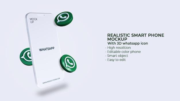 Ícones 3d whatsapp de mídia social com maquete de celular