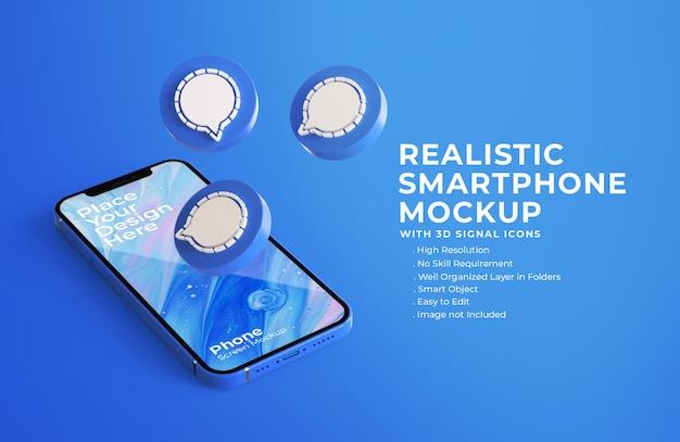 Ícones de bate-papo de sinal 3d com maquete de tela do celular