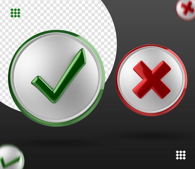 Ícones de marca de seleção vermelhos e verdes 3d