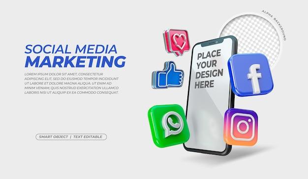 Ícones de mídia social 3d com maquete de tela do celular