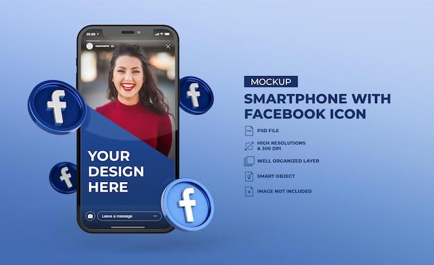 Ícones de mídia social 3d do facebook com maquete de tela do celular para smartphone