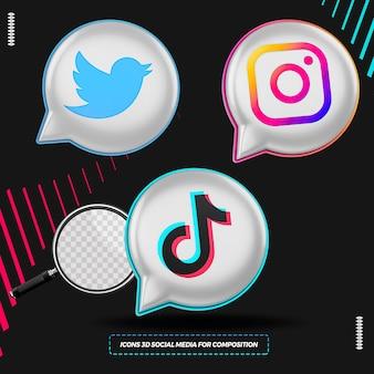 Ícones de mídia social 3d em renderização de formato de balão