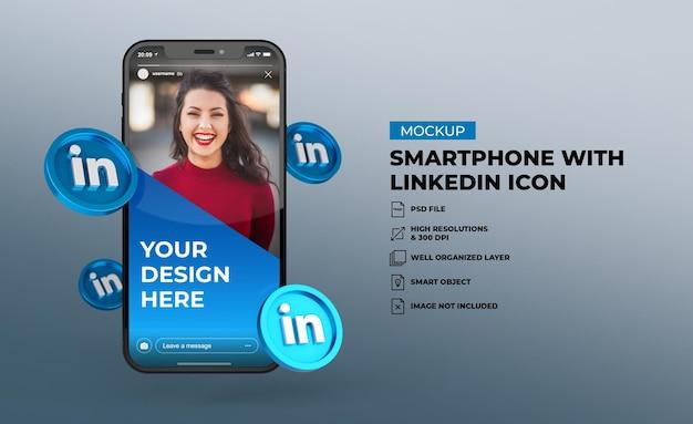 Ícones de mídia social 3d linkedin com maquete de tela do celular para smartphone