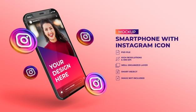 Ícones de mídia social instagram 3d com maquete de tela do celular para smartphone