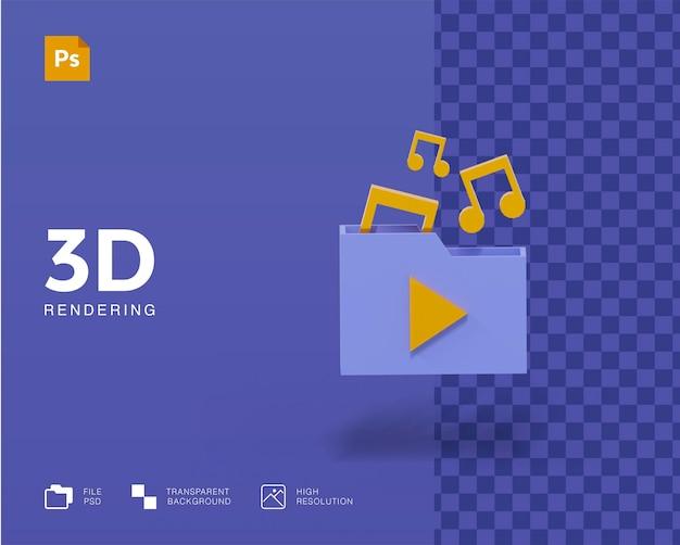 Ícones de pasta de música 3d com melodia e nota