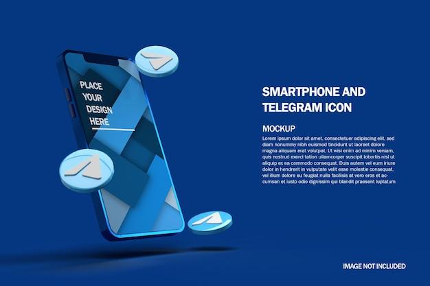 Ícones de telegrama 3d com maquete de smartphone móvel