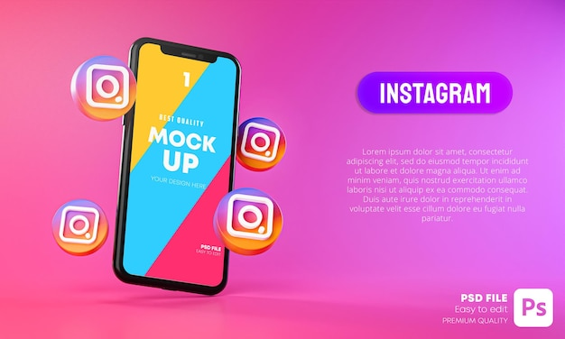 Ícones do instagram em torno do aplicativo de smartphone 3d mockup