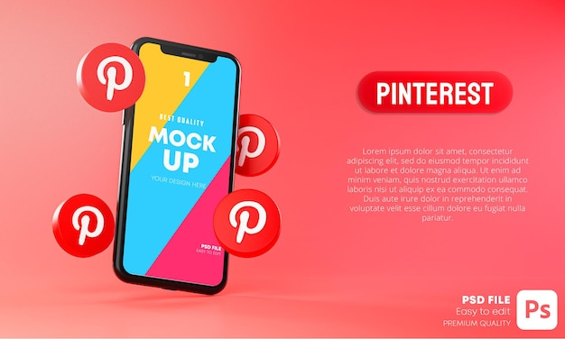 Ícones do pinterest em torno da simulação 3d do aplicativo de smartphone