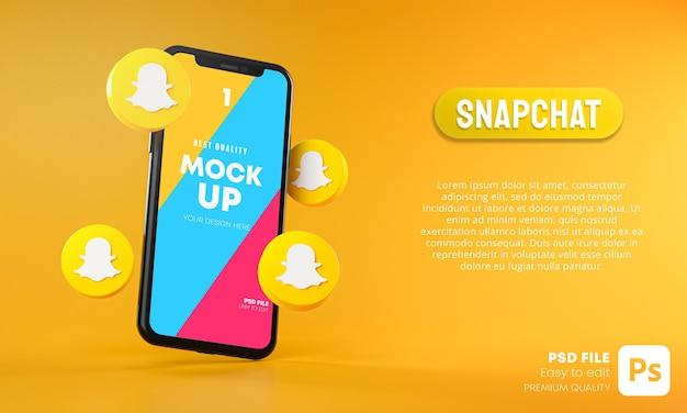 Ícones do snapchat em torno do aplicativo mockup 3d para smartphone