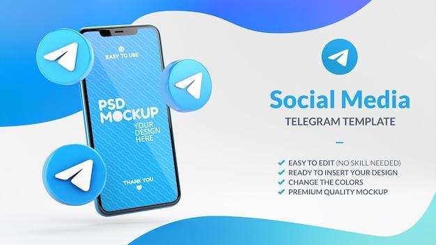 Ícones do telegrama e maquete da tela do telefone para marketing de mídia social em renderização 3d