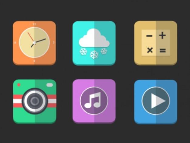 Ícones lisos em um quadrados