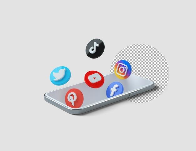 Ícones populares de mídia social em 3d saindo do telefone
