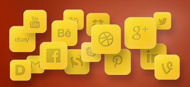 Ícones sociais de ouro em camadas psd