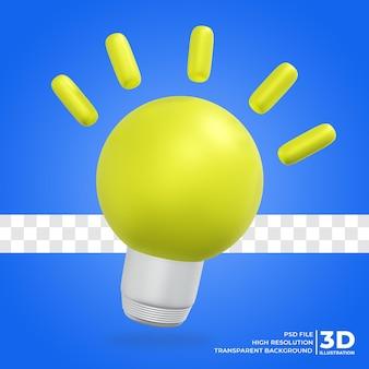 Ideia de lâmpada de ícone 3d renderização 3d ilustração 3d premium psd