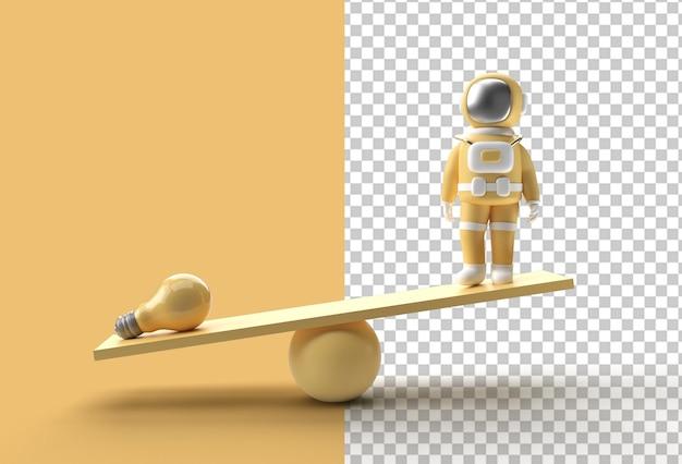 Ideias para equilíbrio de peso de astronauta com lâmpada