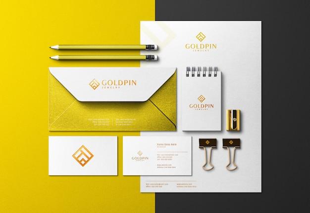 Identidade corporativa ouro scene creator & mockup com efeito de impressão pressionada