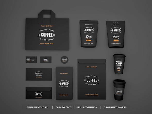 Identidade de marca de café realista e maquete de papelaria