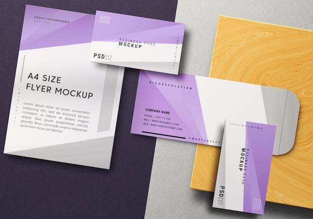 Identidade de marca moderna e maquete de papelaria