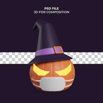 Ilustração 3d abóbora de halloween com ícone de máscara premium psd