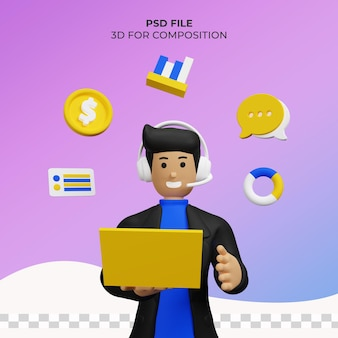 Ilustração 3d admin marketing online premium psd