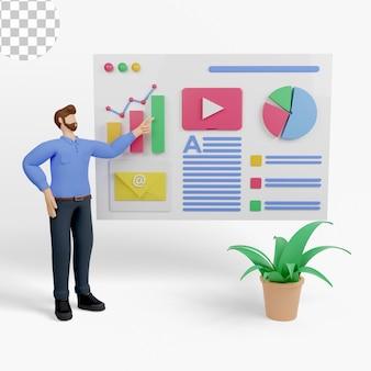 Ilustração 3d. análise de desempenho de negócios com gráficos